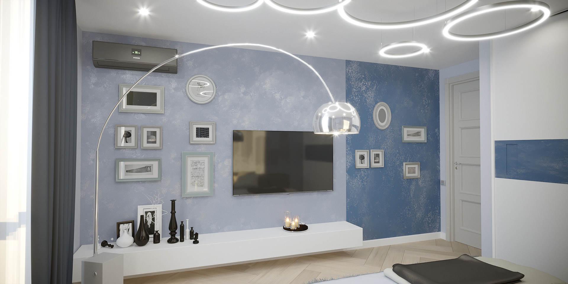дизайн спальной комнаты с декоративной покраской