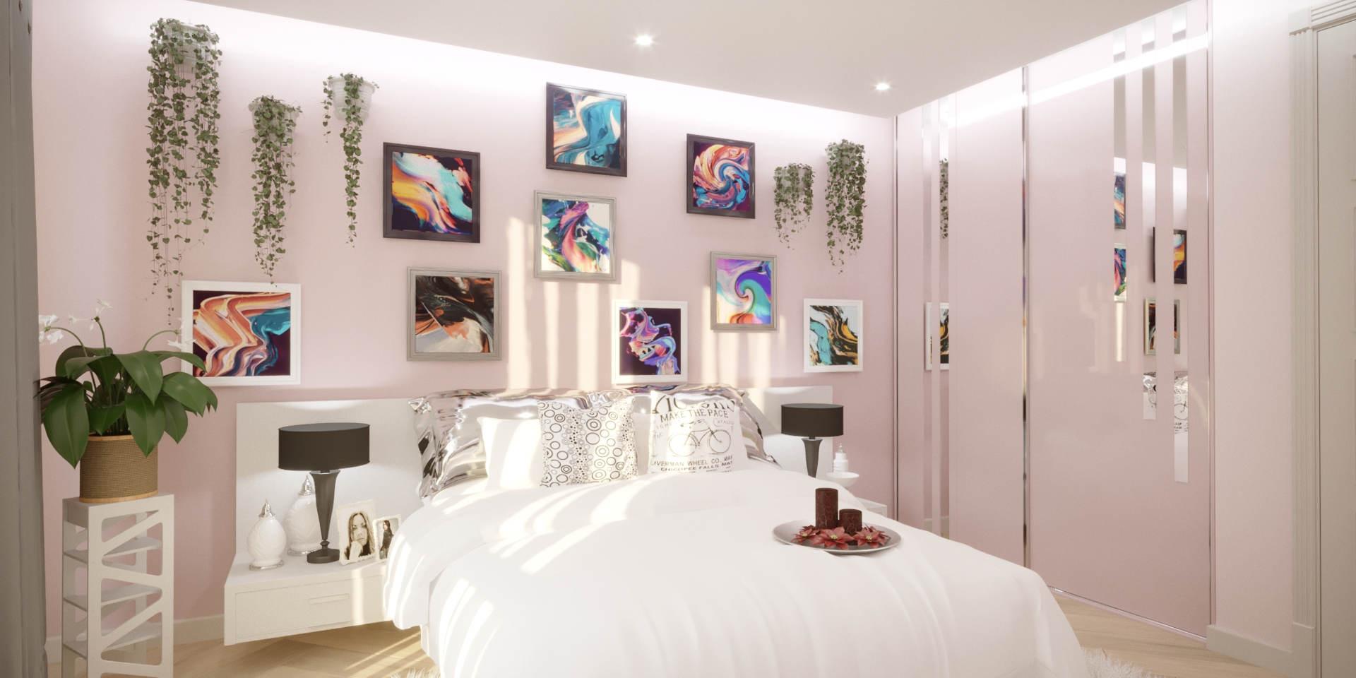 Светлая спальня в легком розовом цвете