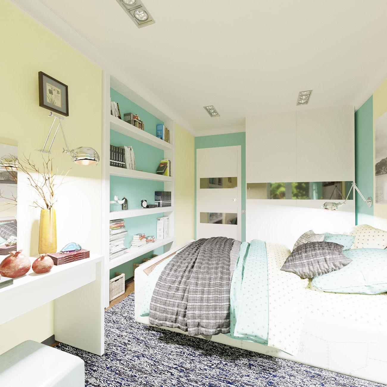 Дизайн спальной в горчичных тонах