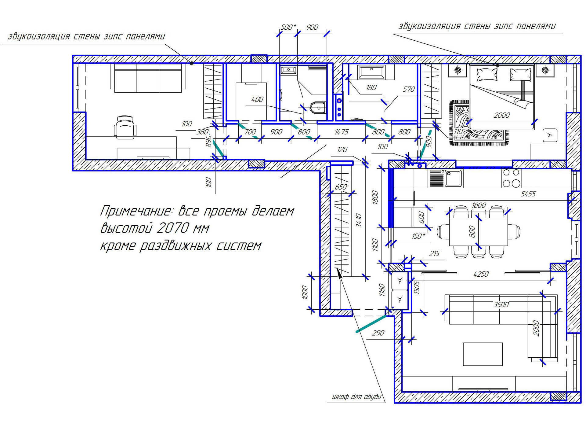 дизайн интерьера квартиры Киев Комфорт Таун план квартиры две комнаты, планировка, план мебели