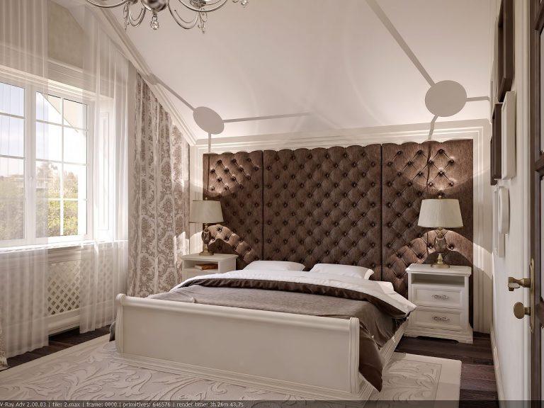 Дизайн интерьера спальни в классике большое изголовье, современный стиль 1