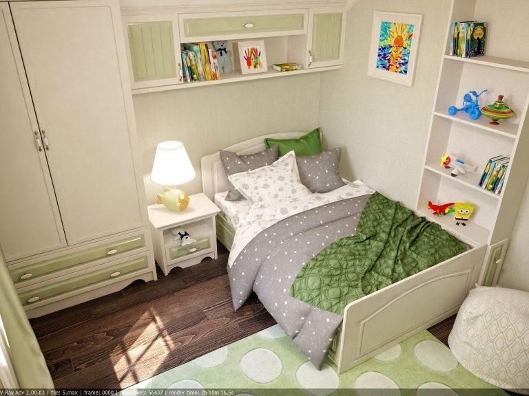 Дизайн интерьера детской комнаты в зеленом цвете, современный стиль классика фото 1