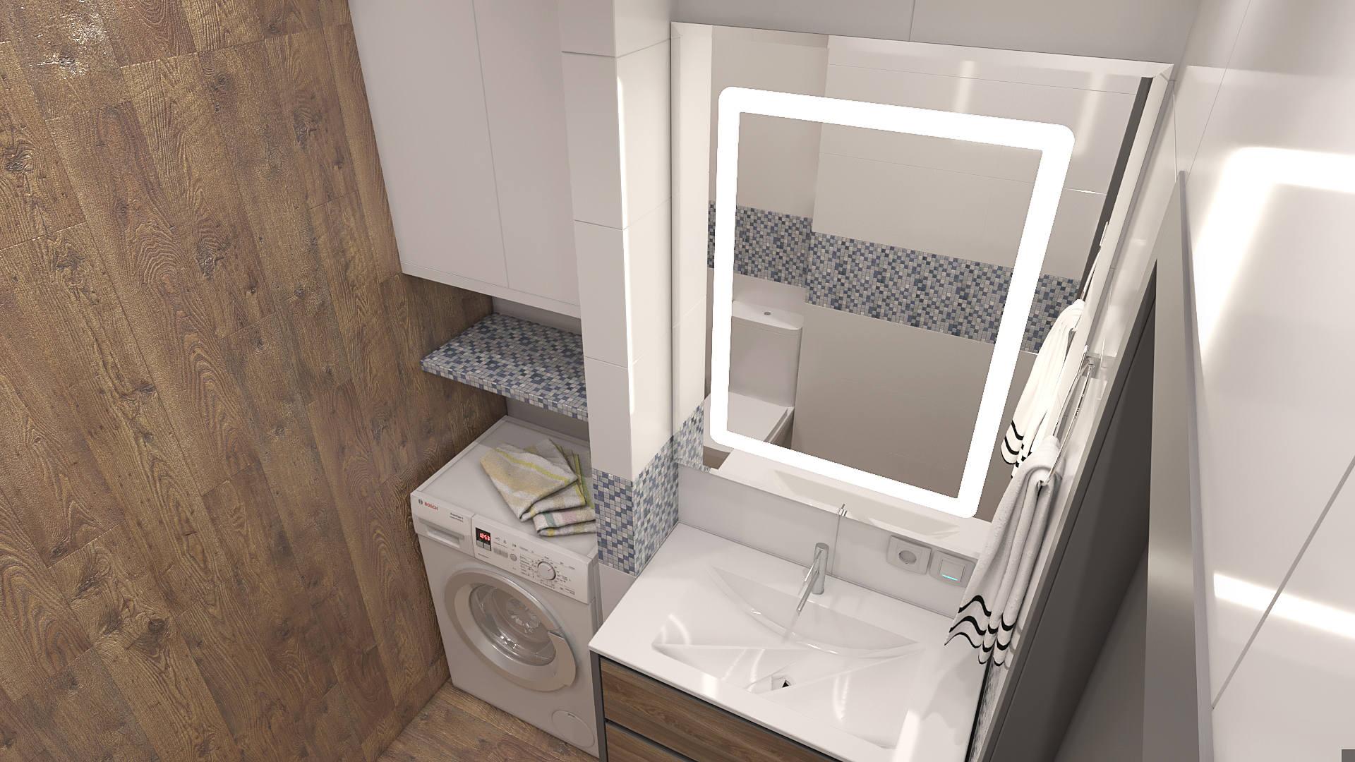 ванная с декоративной штукатуркой под бетон в ЖК SKY