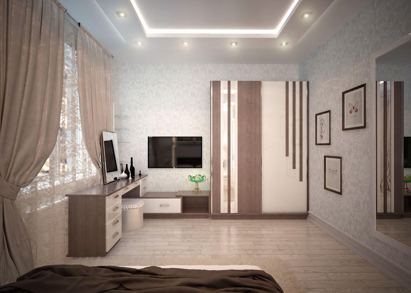 уютная спальня в кофейных тонах