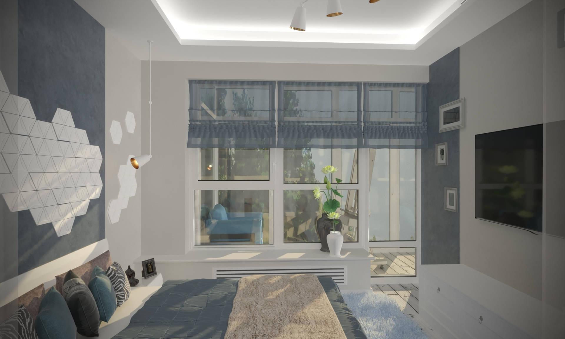 спальная комната с панелями из дерева