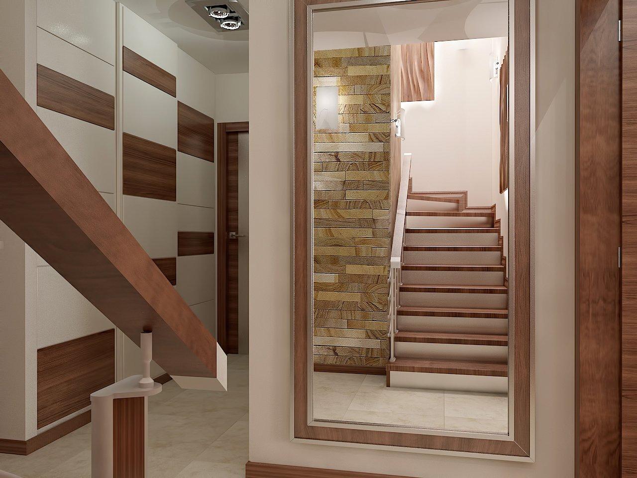 коридор с кварцитом на стене
