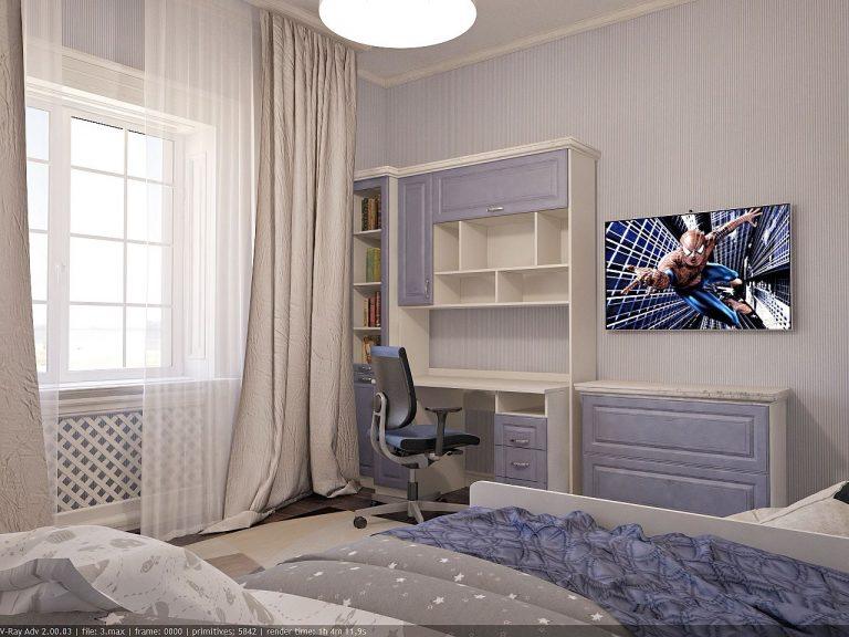 Дизайн интерьера детской голубой цвет, сиреневый, легкая классика 3