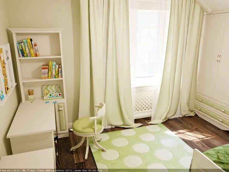 Дизайн интерьера детской комнаты в зеленом цвете, современный стиль классика фото 5