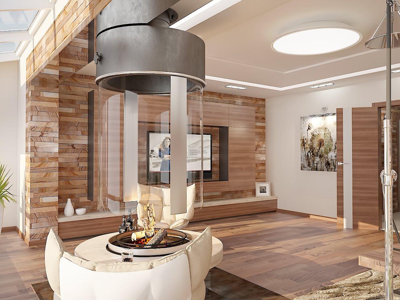 красивая гостиная с подвесным камином