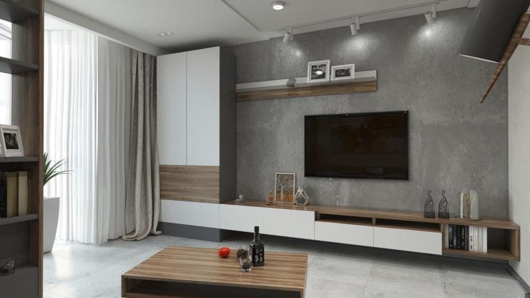 гостиная с декоративной штукатуркой под бетон в ЖК SKY