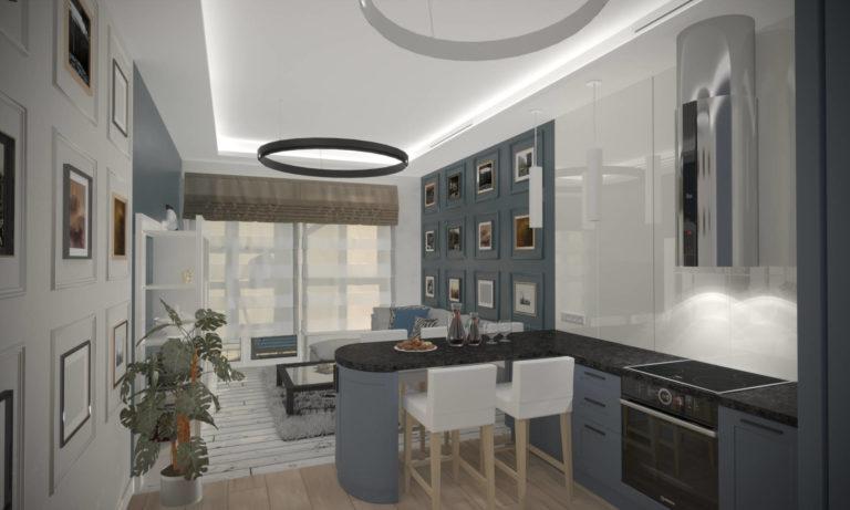 дизайн кухни-гостиной в ЖК Альтер Эго