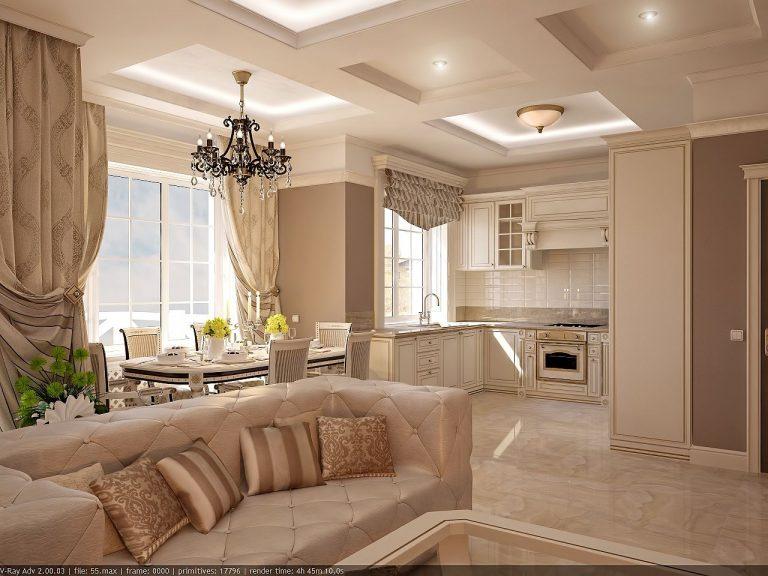 Дизайн интерьера гостиной кухни в классике, легкая классика фото идеи 2