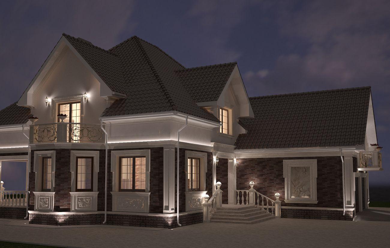 дизайн фасада дома в скандинавском стиле ночной вид