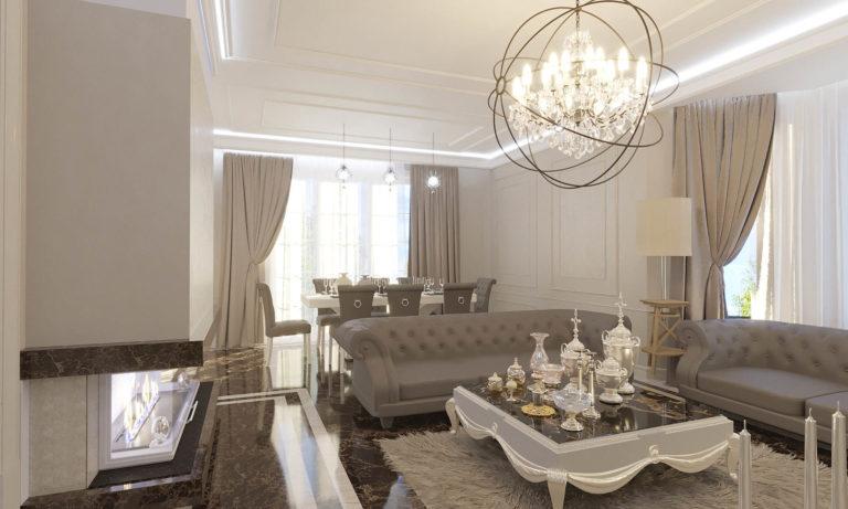 дизайн интерьера гостиной в легкой классике в Плютах