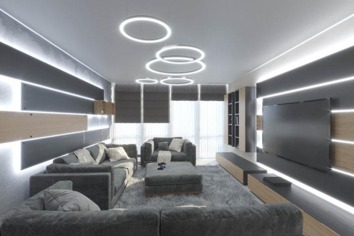 дизайн гостиной в современном стиле с нотками модерна