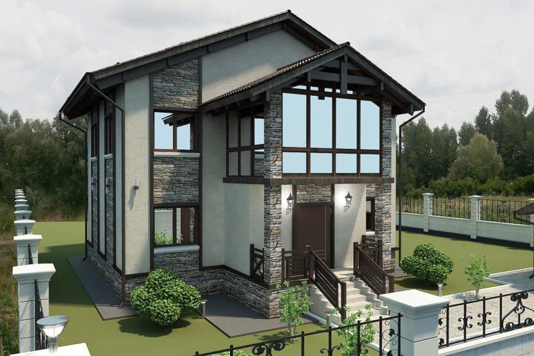 дизайн фасада дома в стиле фахверк