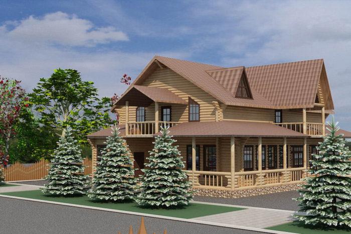 дизайн фасада в стиле шале