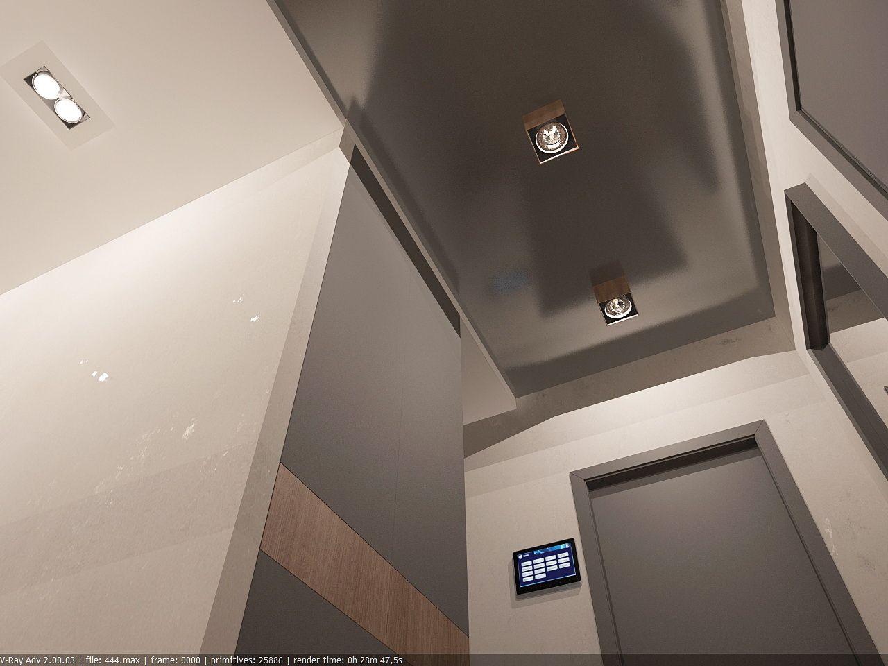 дизайн коридора в стиле хай тек в ЖК Малахит