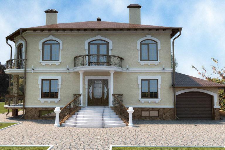 дизайн фасада дома в легком, классическом стиле