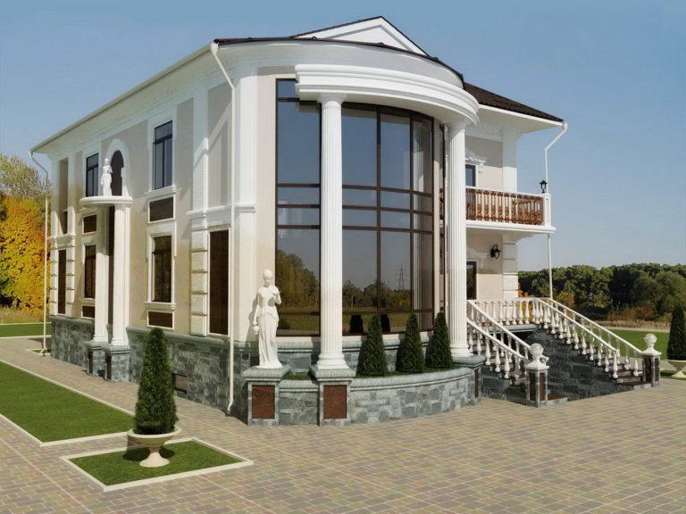 Дизайн фасада дома в строгом классическом стиле