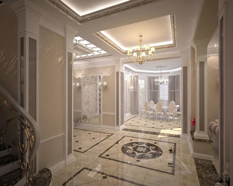дизайн коридора в классике в доме Новые Петровцы