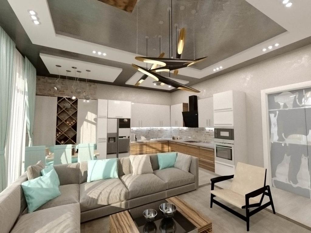современна гостиная с бирюзовой кухней в ЖК Кристал Парк