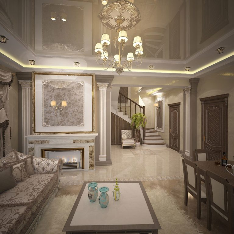 Дизайна гостиной дома в английском стиле в Новоселках