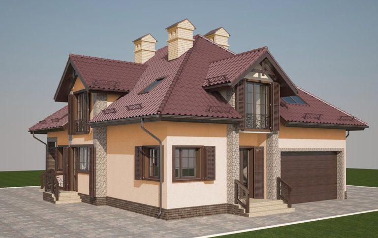 дизайн современного фасада дома со ставнями