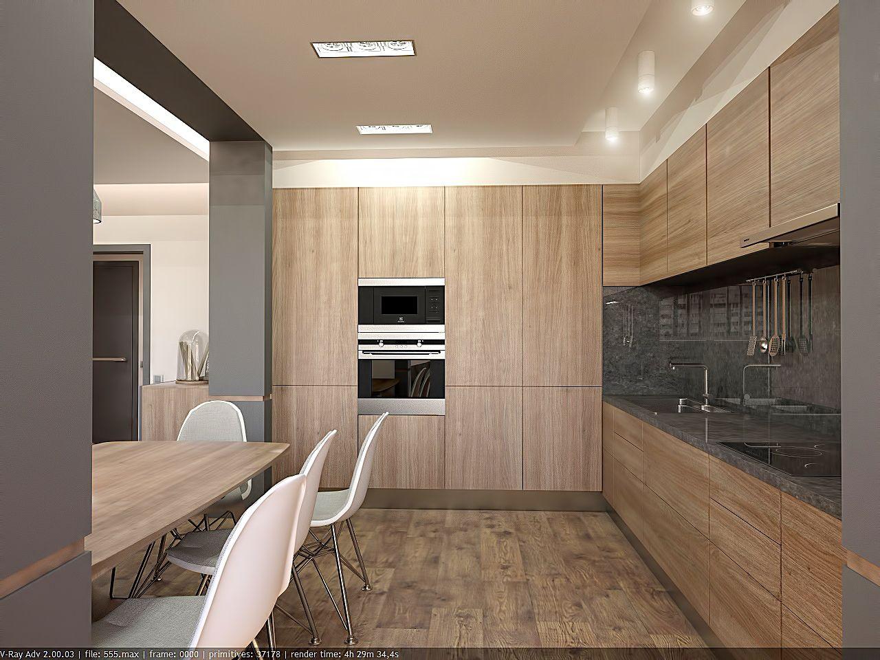 дизайн кухни в стиле хай тек в ЖК Малахит