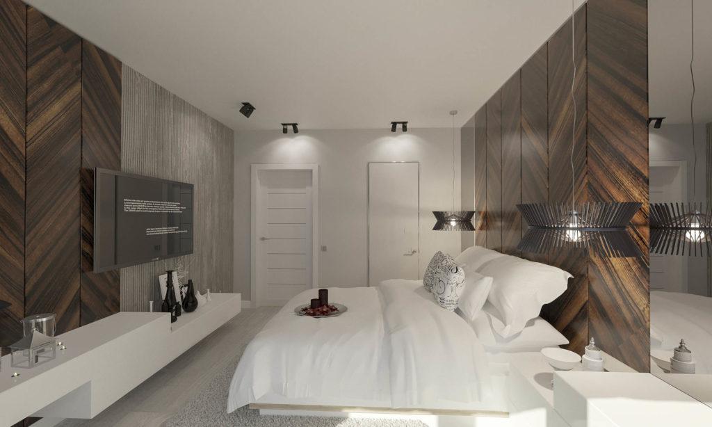 спальная комната с деревянной отделкой
