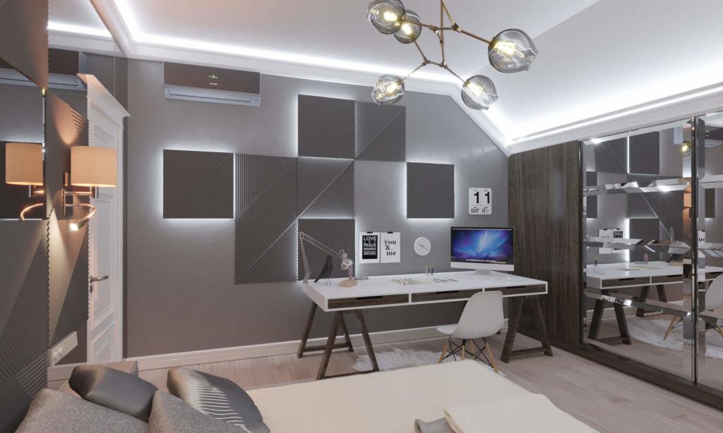 дизайн интерьера спальной с 3д панелями в Плютах