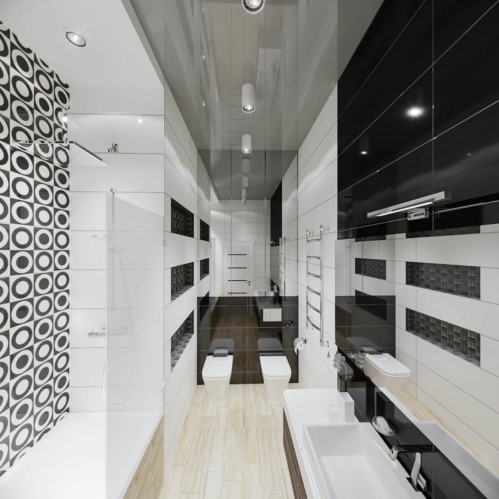 дизайн черно-белой ванной в ЖК Кристал Парк
