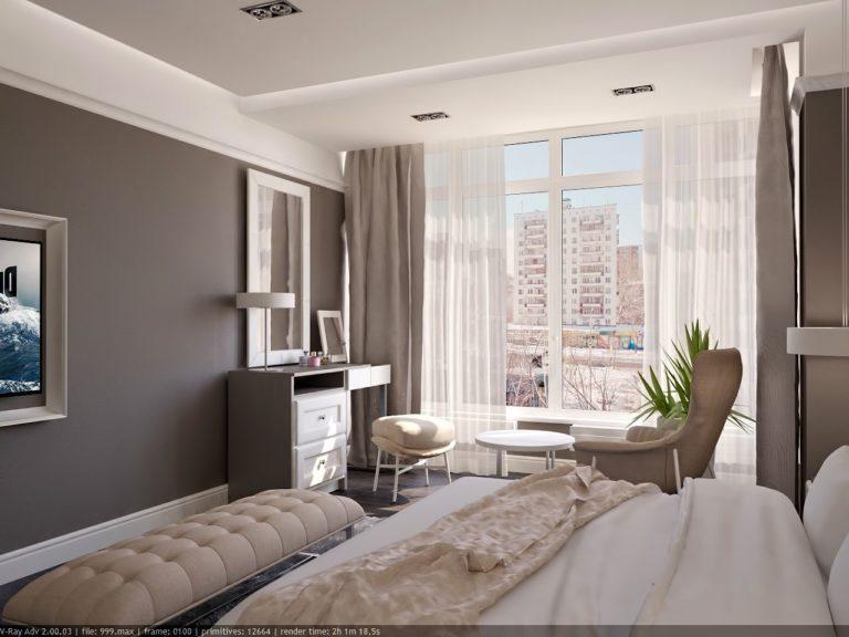Дизайн спальной в современном стиле в ЖК Лазурный бриз