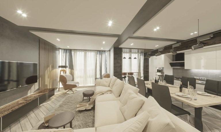 дизайн гостиной в современном стиле в нежных тонах