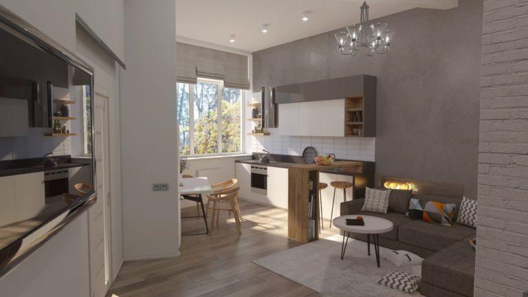 Дизайн гостиной в Вишневом