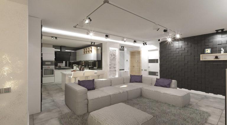дизайн гостиной в стиле хайтек