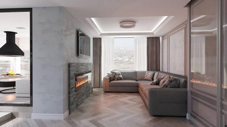 дизайн современной гостиной в ЖК Венеция