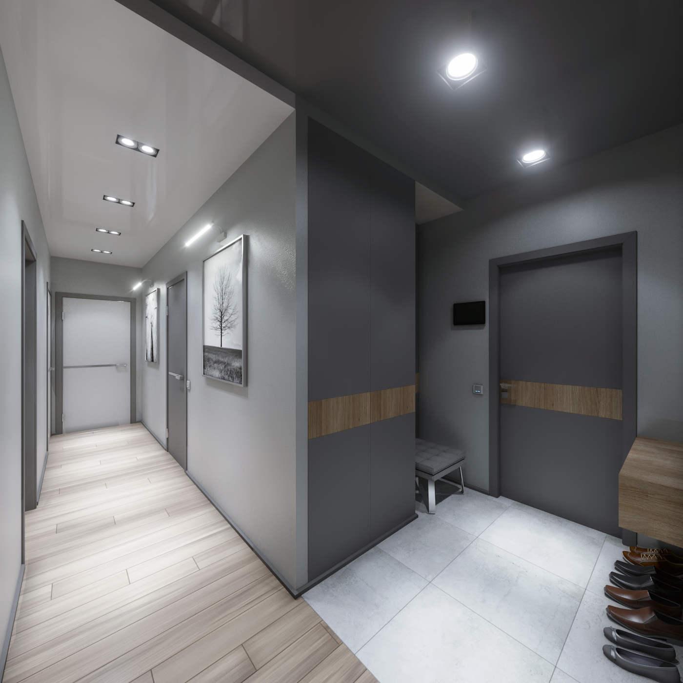 дизайн коридора с декоративным покрытием стен в ЖК Малахит