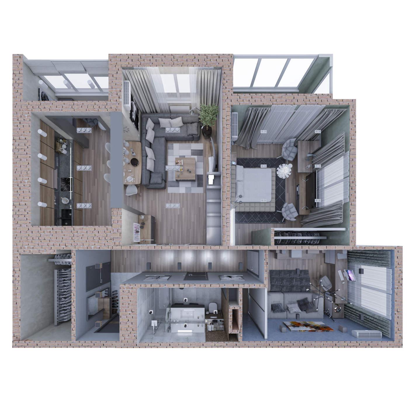 дизайн квартиры план сверху