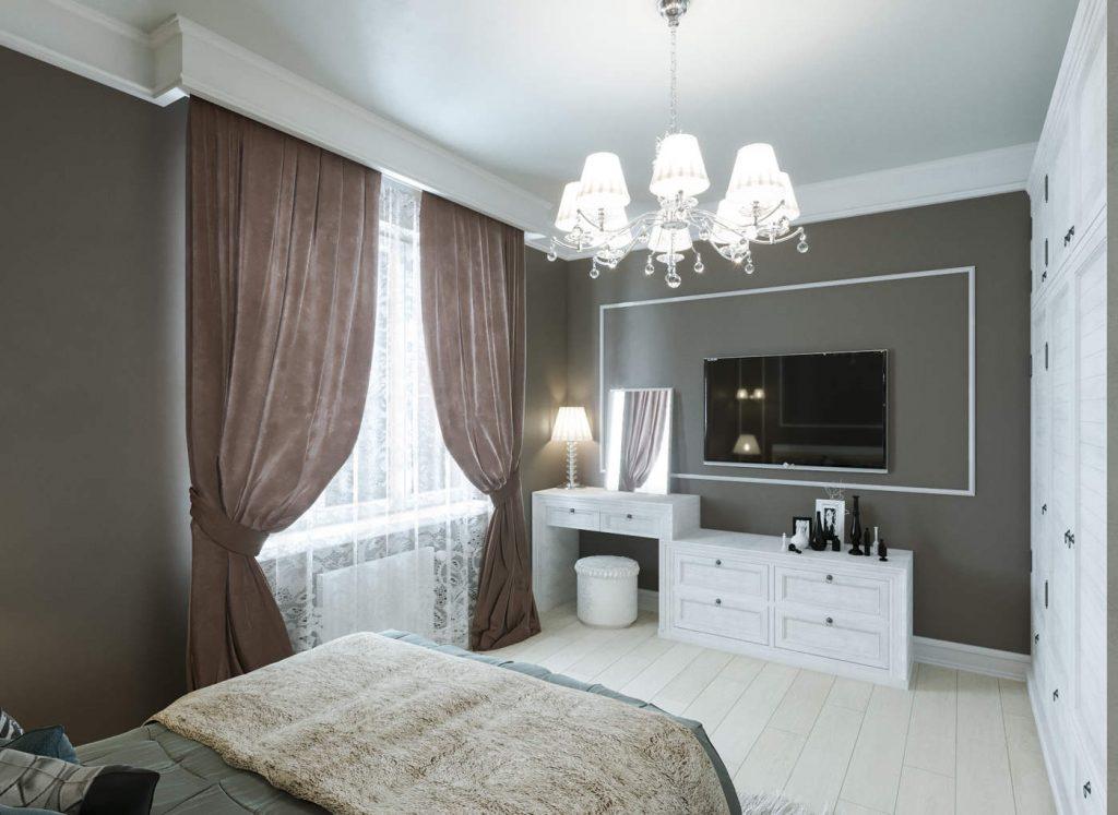 дизайн классической коричневой спальни в ЖК Челси Тауер