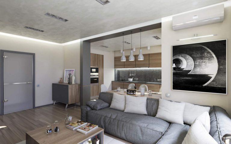 дизайн гостиной с декоративным покрытием стен в ЖК Малахит