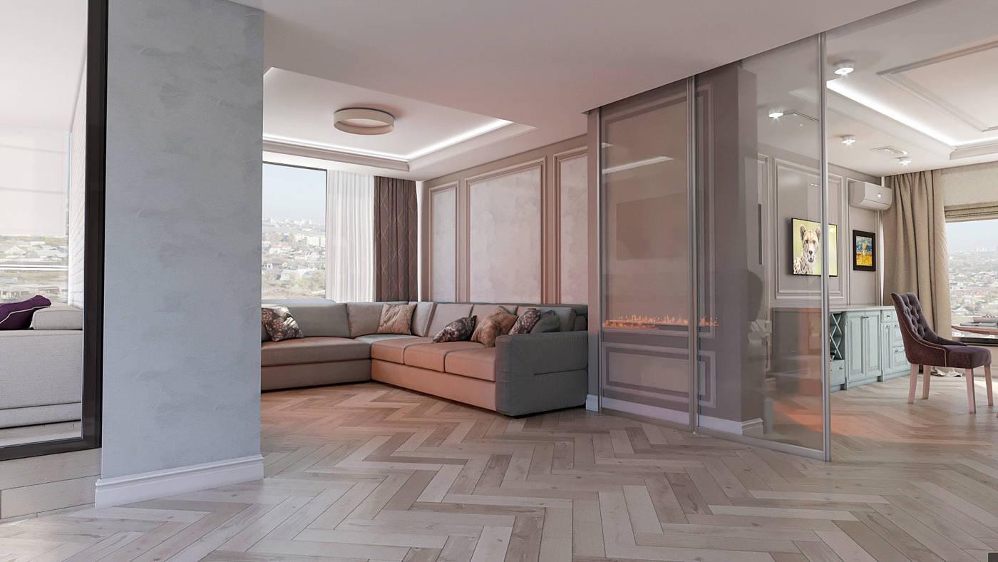 дизайн современной гостиной с камином в ЖК Венеция
