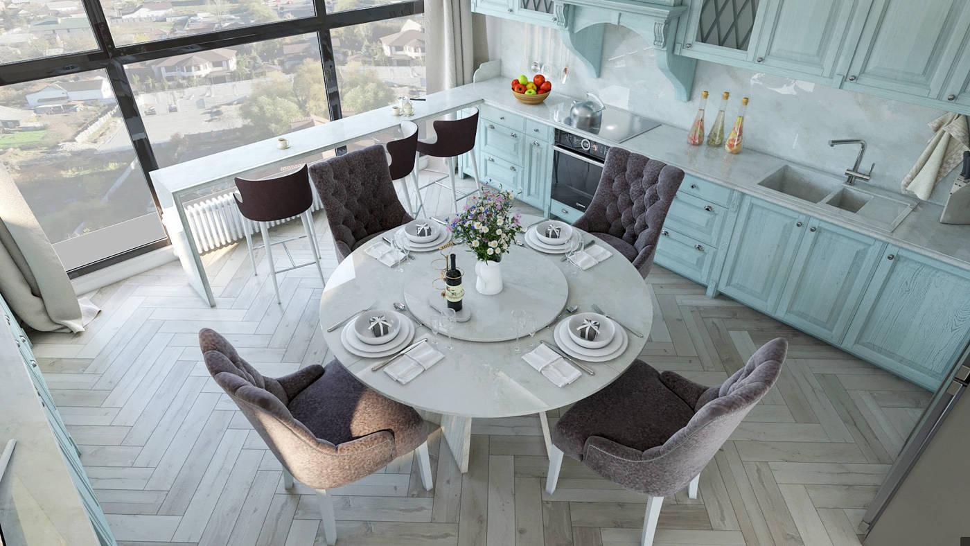 Кухня в легкой классике с круглым столом в ЖК Венеция