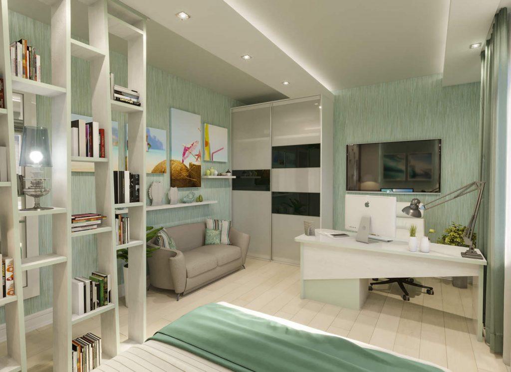 дизайн современной бирюзовой спальни в ЖК Челси Тауер