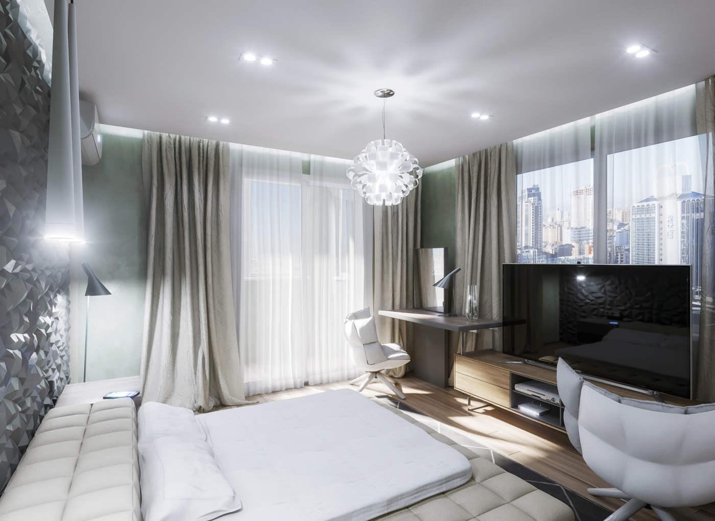 дизайн спальной с декоративным покрытием стен в ЖК Малахит