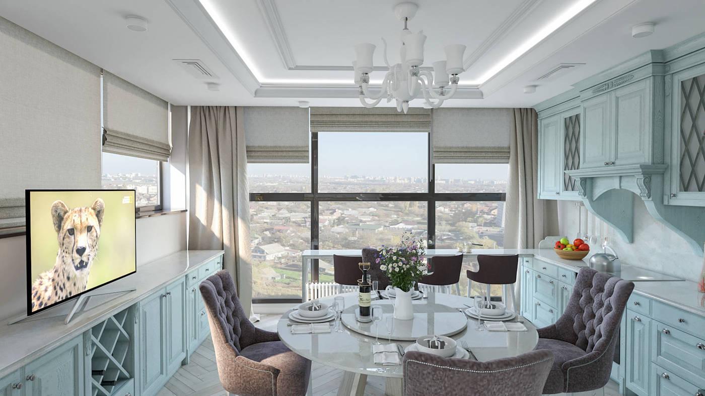 Дизайн интерьера Кухня в легкой классике с круглым столом в ЖК Венеция