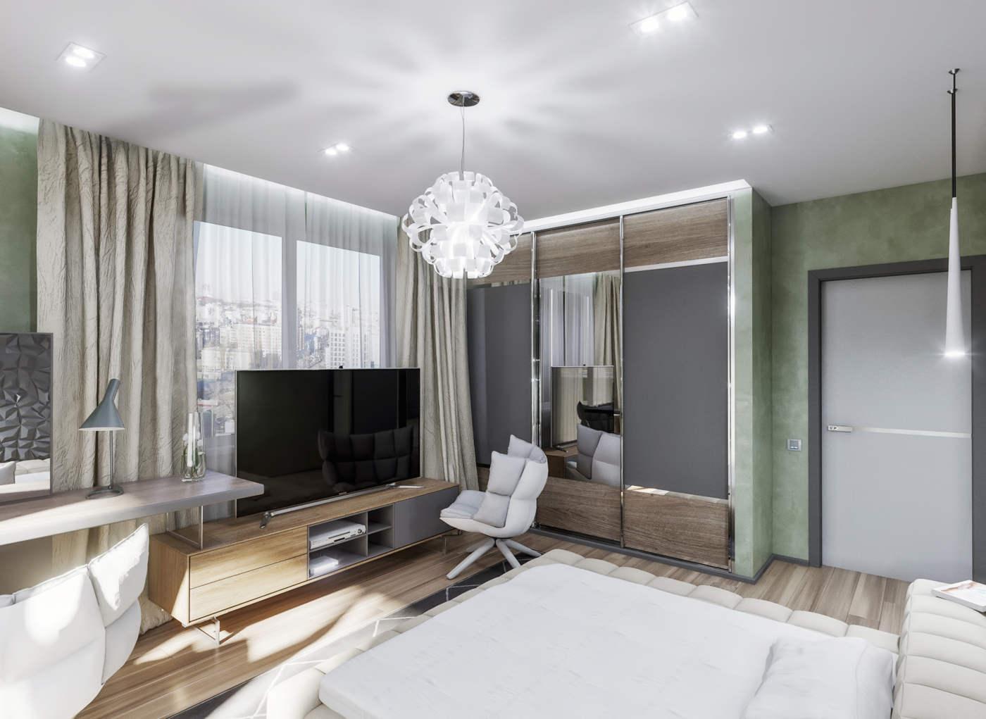 дизайн интерьера спальни с декоративным покрытием стен в ЖК Малахит