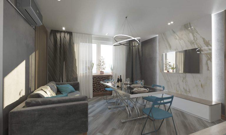 дизайн кухни-гостиной с панелями из дерева в стиле хай тек в ЖК Сирецкие Сады