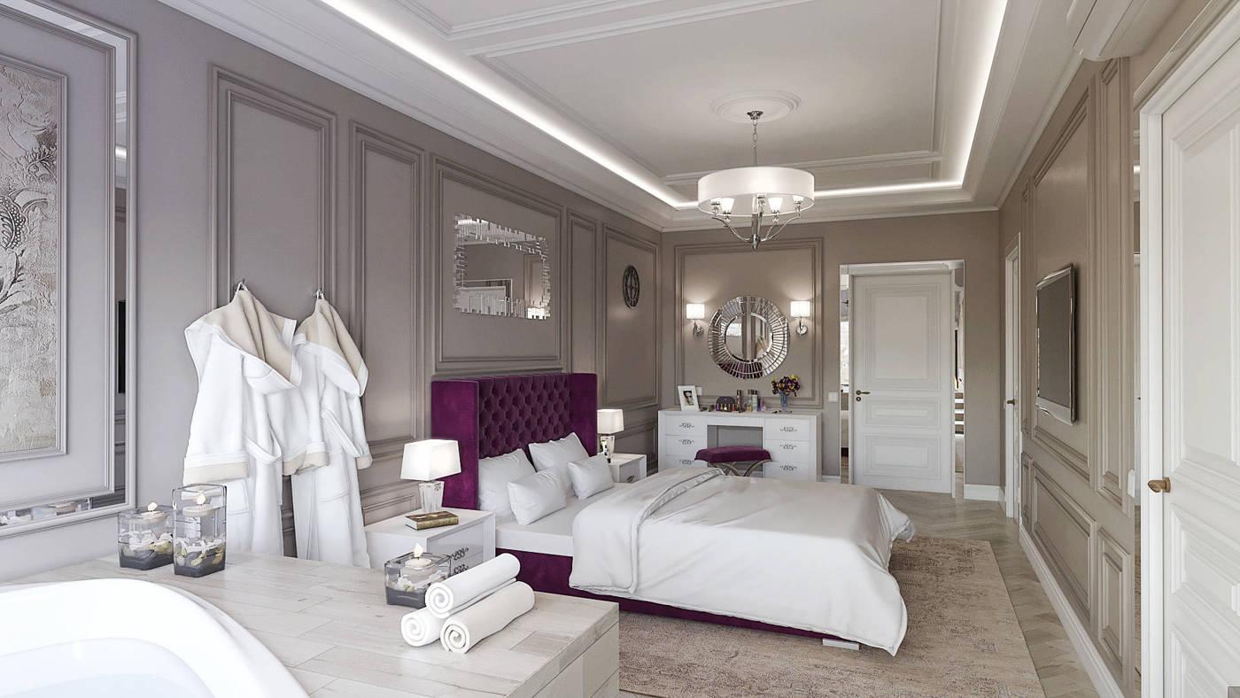 красивая классическая спальня с ванной в современном стиле в ЖК Венеция