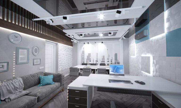 дизайн современного офиса с натяжными потолками